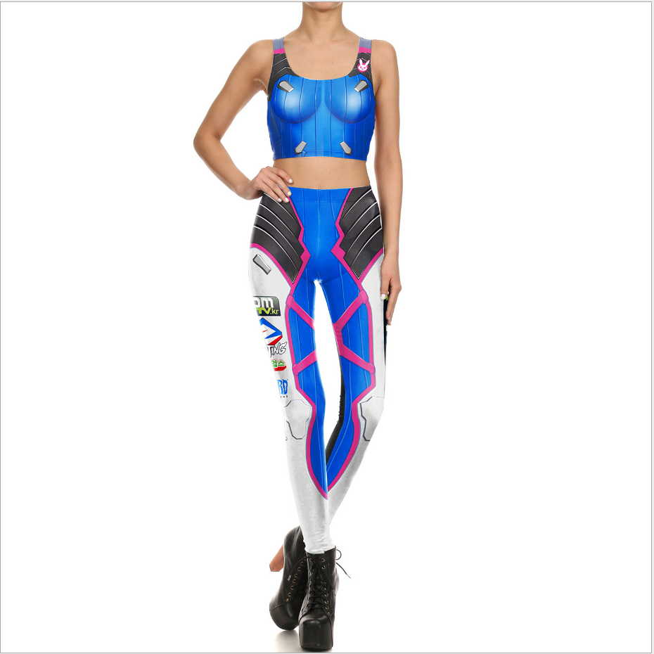 Game OW Sexy D VA Cosplay Tops And Pants Freeshipping 3d Print OW DVA Clothing Custom