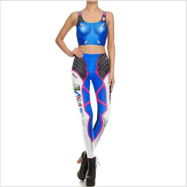 0c3b5dd3df09e Womens Game Ow Dva Cosplay Costume 3d Print Slim Games Tops And Pants Over D .va Leggings Clothing Leggin Summer Tight Bodysuit