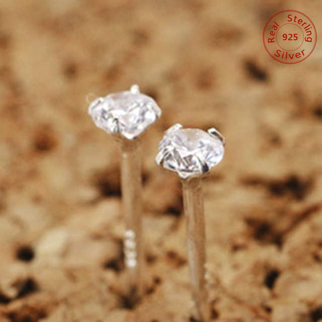 Mini High Quality Small 925 Sterling Silvery Women's Silver Crystal Stud Earrings Jewelry Ear Cuff Clip for Girls