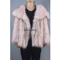 New Arrival Real Fur Raccoon Fur Coat Knit Raccoon Fur Jacket With Pocket Women Big Wing Collar Overcoat