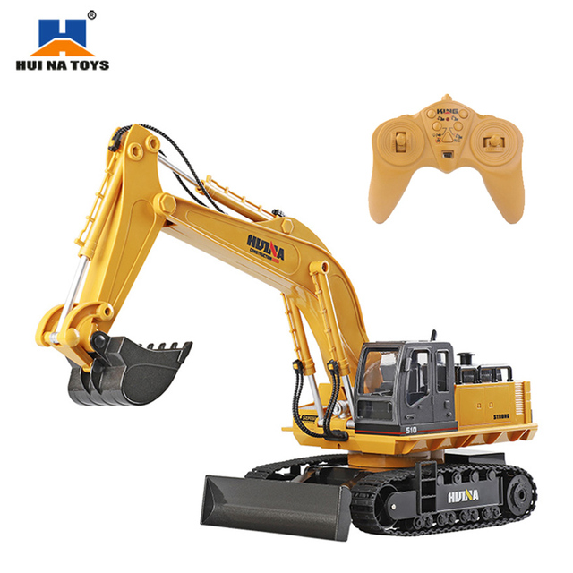 HuiNa Wireless Remote Control Electric Alloy Excavator Bulldozer 11 Channels 1:16 2.4Ghz Children Toy Car Engineer Vehicle Truck