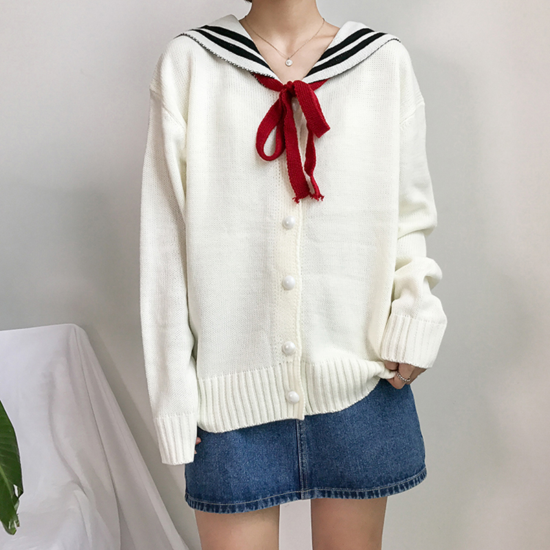 Winter women college wind loose long sleeves Navy collar letter embroidered bow tie sweater cardigan for girls