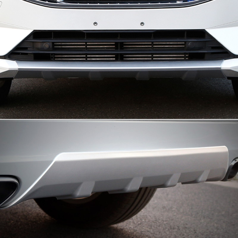 Car Styling 2PCS ABS Front & Rear Bumper Skid Protector Guard Cover Trim For VOLVO XC60 2018 (Not fit for Sport Model!) high end 2pcs front or back bumper cover stickers protector guard 3d streamline for mitsubishi asx bumper strip