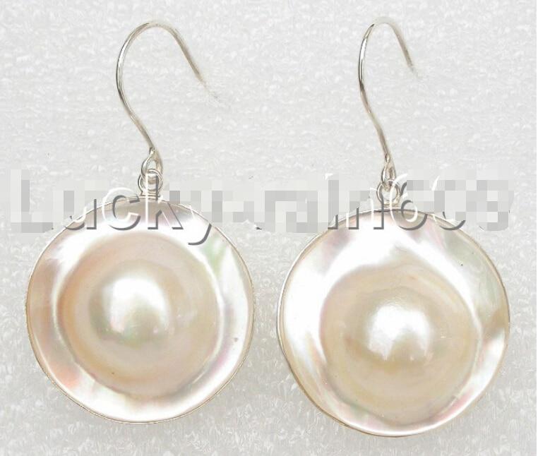 FREE shipping> >>> AAA rare 22mm white SOUTH SEA Mabe pears dangle earrings 925ss e116