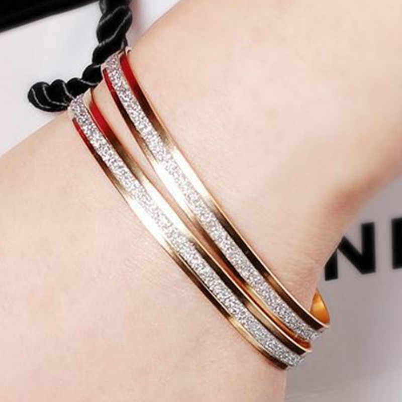 11.11 Hot New Fashion Metal Flash Bangles Bracelets Women Jewelry Double Gold Silver Bilezik Opening Gift Mujer Pulseras