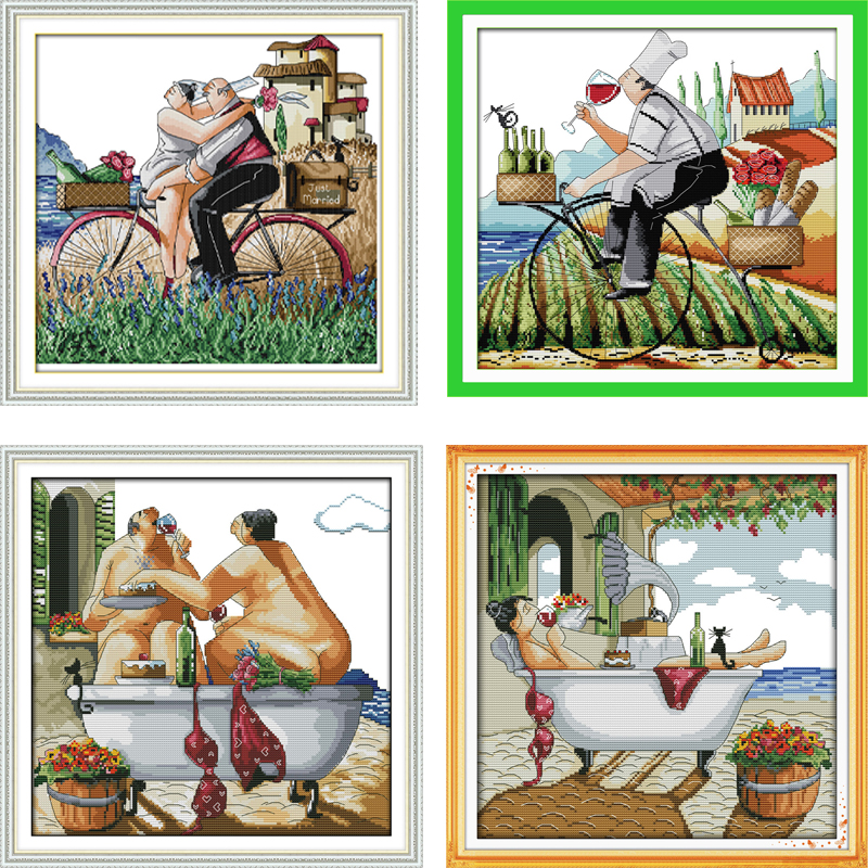 Needlework DIY DMC 14CT 11CT Cross stitch Sets For Embroidery kits Enjoy life Pattern Counted Cross-Stitching Home Decoration
