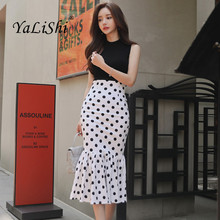 цена на Summer 2 Piece Set Women Suit Black Sleeveless Knitting Casual Top and White Dot Vintage Mid-calf Party Club Skirt Two Piece Set