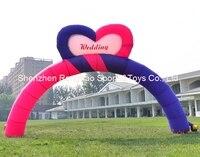8 м (26 футов) надувные сердце радуга Арки арки для свадьбы фестиваль рекламы партии с воздуха Воздуходувы