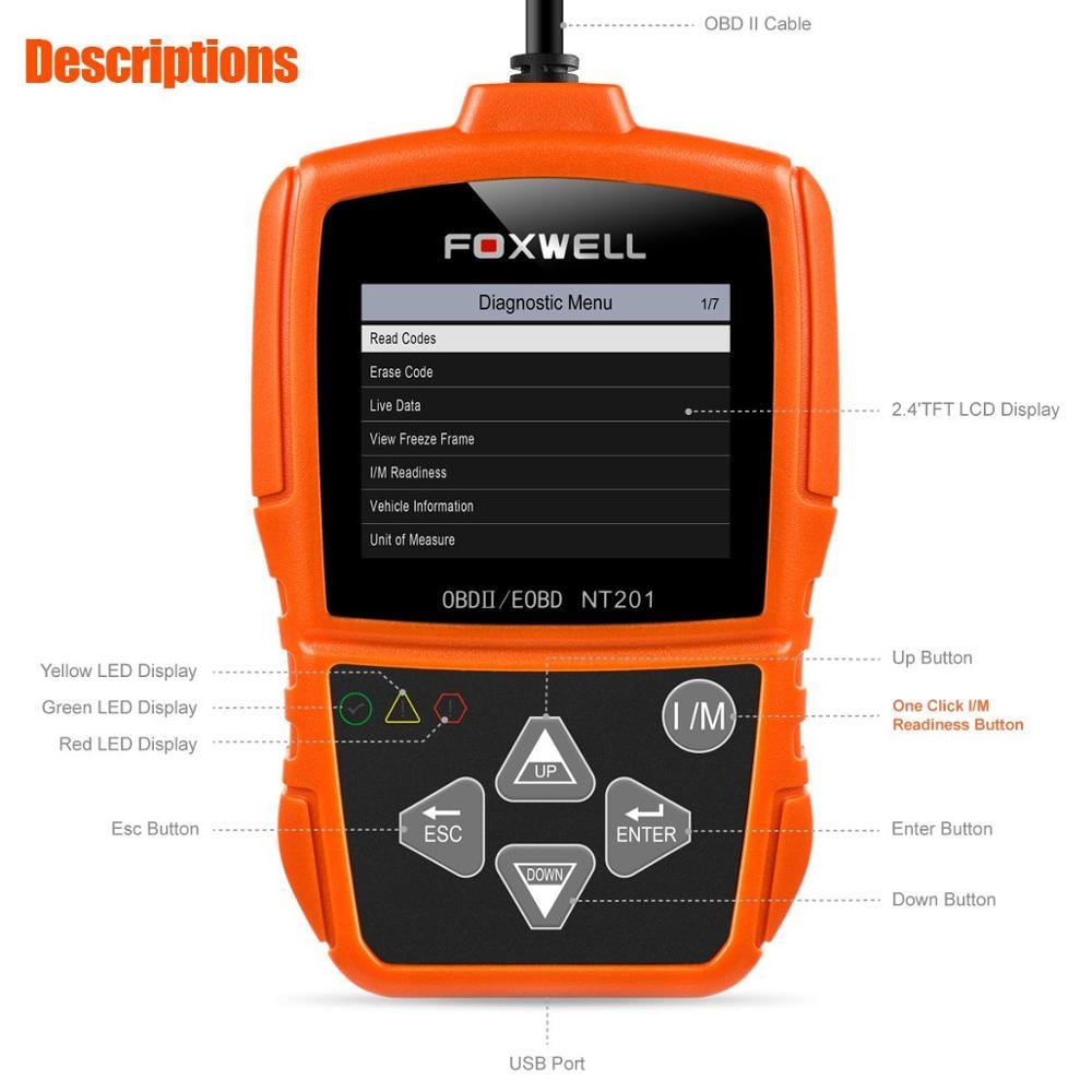 Foxwell Nt204/OBD2/Lecteur de code d/éfaut Moteur de voiture de lecteur de code support multi-langues
