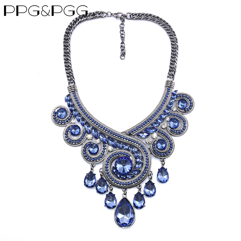 PPG & PGG Bohemia Chunky Chainky Statement Women Blue Crystal - Модні прикраси - фото 1