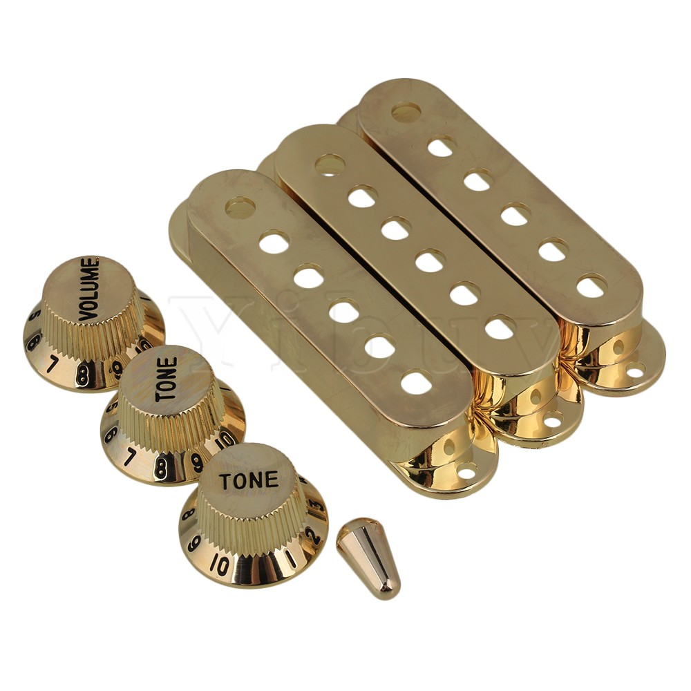 Yibuy 3 Pieces 48/50/52mm Golden Pickup Cover & 1V2T Black Knob for Electric Guitars yibuy maple 2 single coil pickup 21 22f electric guitars diy builder kit with all accessories