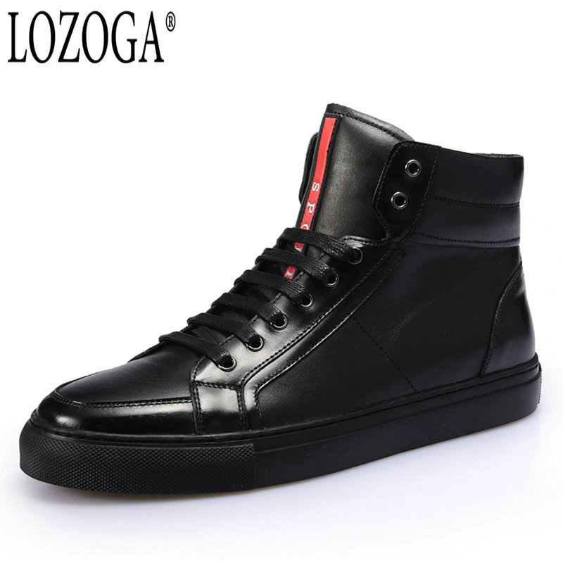 LOZOGA Men Boots 100% Genuine Leather Top Quality Spring/Autumn Luxury Handmade Boots Black Brand Sport Boots Lace-Up Flat Shoes 2017 lige brand luxury full stainless steel watch men business casual quartz watches military wristwatch waterproof relogio
