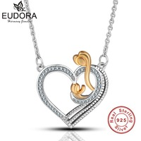 Eudora 100 925 Sterling Silver Crystal Heart Pendants Necklace Gold Color Mother And Baby Love Jewelry