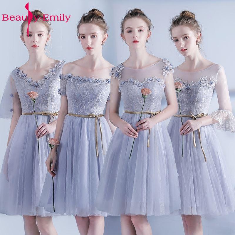 Beauty Emily Short Grey Lace   Bridesmaid     Dresses   2019 Vestidos Para Festa A-line Knee-Length Wedding Party Sexy Prom   Dresses