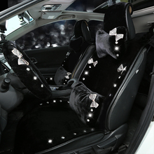 Diamond Crystal Bow Plush Car Seat Headrest Pillow Auto Neck Waist Support Pillows Diamond Car Interior Accessories Girls Women