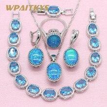 05139c6bd60c Estilo Simple Oval azul crear ópalo 925 Plata joyería conjuntos para  mujeres boda collar pendientes anillo pulsera caja libre WP.