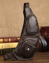 Men s Vintage Genuine Leather Travel Riding Motorcycle Shoulder Messenger Sling Chest Bag