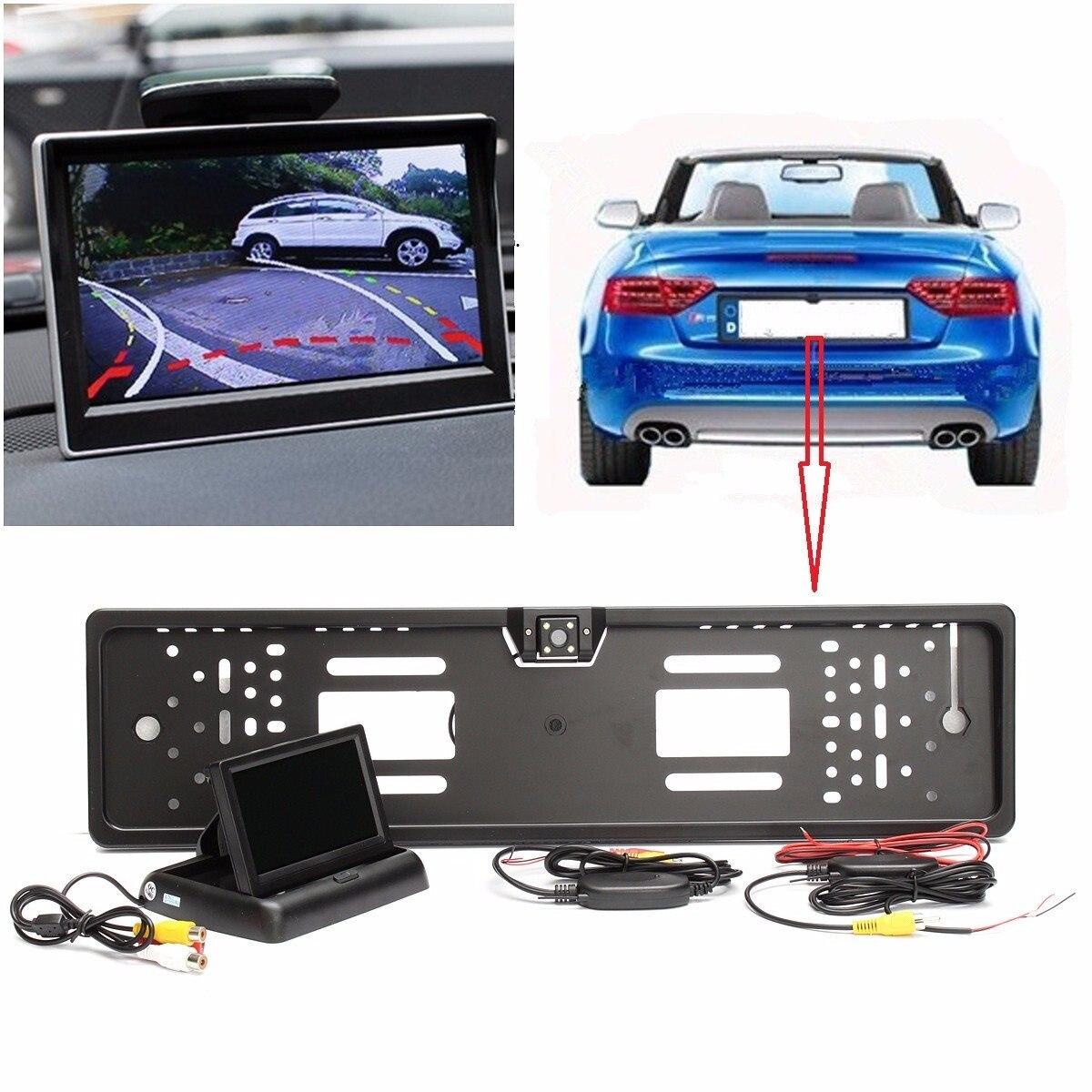 120 Degree Wireless License Plate Rear View Kit Reversing Night Vision Car Camera 4 3 Inch