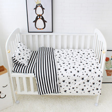 100% Cotton Crib Bed Linen 3 Pcs Baby Bedding Set Includes Pillowcase Bed sheet Duvet Cover Without Filler Cartoon Patterns