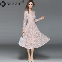 Simgent High End Fashion Elegant V Neck Long Sleeve Office Party Slim Lace Dress Pink Women Clothes Vestido Renda Midi SG84232