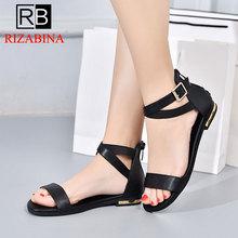 Купить с кэшбэком RizaBina Summer Beach Women Real Leather Flats Sandals Open Toe Buckle Strap Sandals Club Shoes Women Footwear Size 33-42