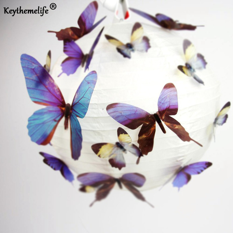 Keythemelife 18pcs/set Beautiful 3D Butterfly Wall Stickers DIY Art Decal PVC Paper for Office Showcase Home Fridge Decor C4