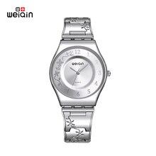 WEIQIN Mujeres de la marca de Relojes de Lujo Montre Femme reloj Resistente Al Agua de Acero Inoxidable de Alta Calidad 2017 Vestido de Mujer Relojes de Plata