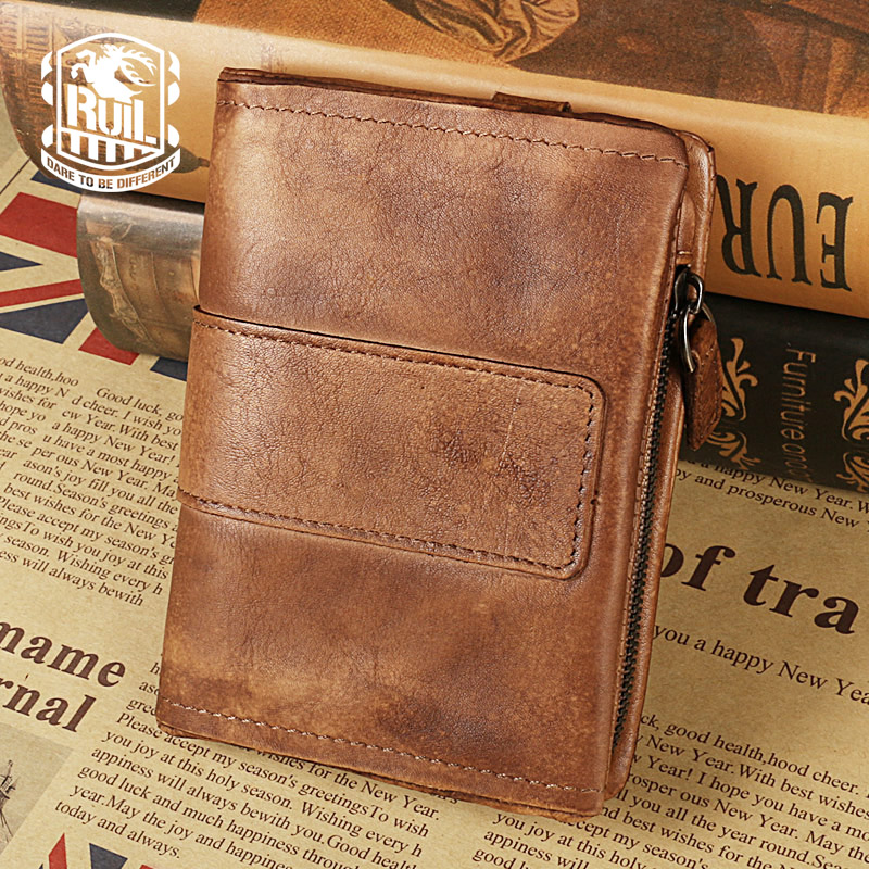 Ruil Hot Sale!Top quality Retro Fashion Burnish Genuine Leather Men Mini Purse Wallet coin pocket purse card Free shipping  new sale fashion genuine leather business trends men purse top quality wallet coin pocket purse card free shipping