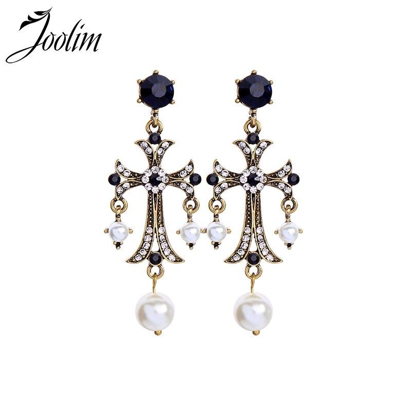 Joolim Baroque Retro Cross Earring Dangle Earring Statement Earring Wholesale in Drop Earrings from Jewelry Accessories