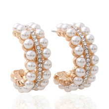 цены Pearl Earrings for woman Earring Zine Alloy Brand Rhinestone pearl Large Brinco Ear Christmas Oorbellen indian jewelry