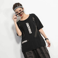 #1430 Black Short Sleeve T Shirt Women High Street Harajuku Round Neck Vintage Black Loose Hip Hop Tee Shirt Femme Patchwork