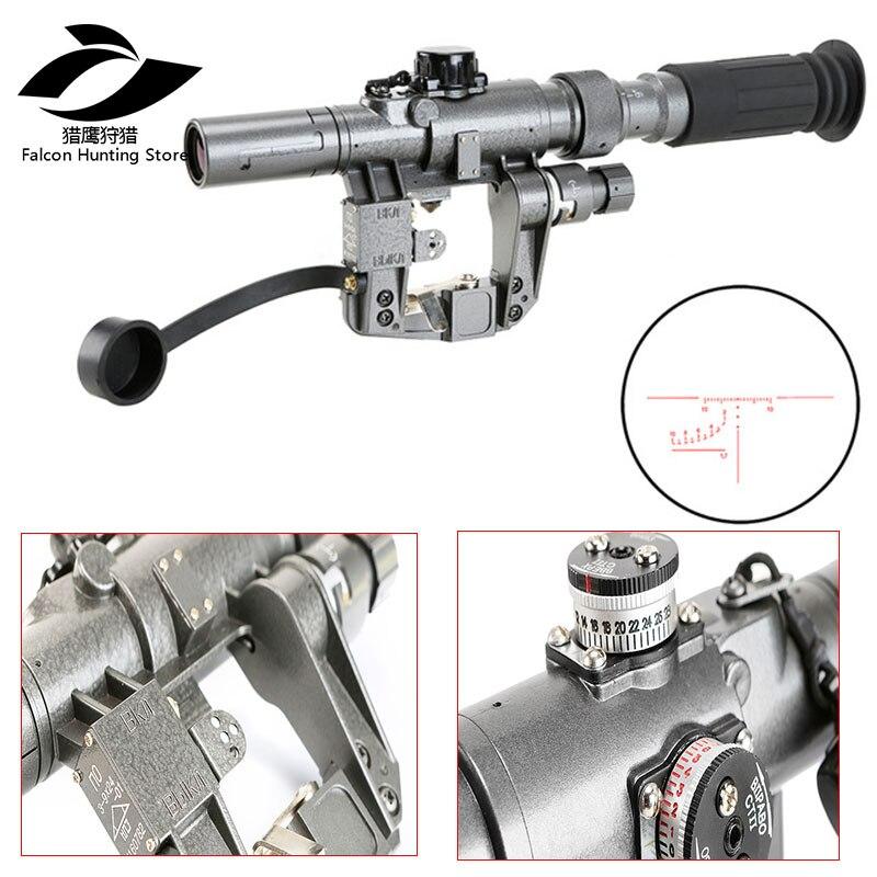 Lunette de chasse tactique série AK Dragunov SVD POS 3-9X24 lunette de chasse éclairée rouge avec Rail de montage latéral