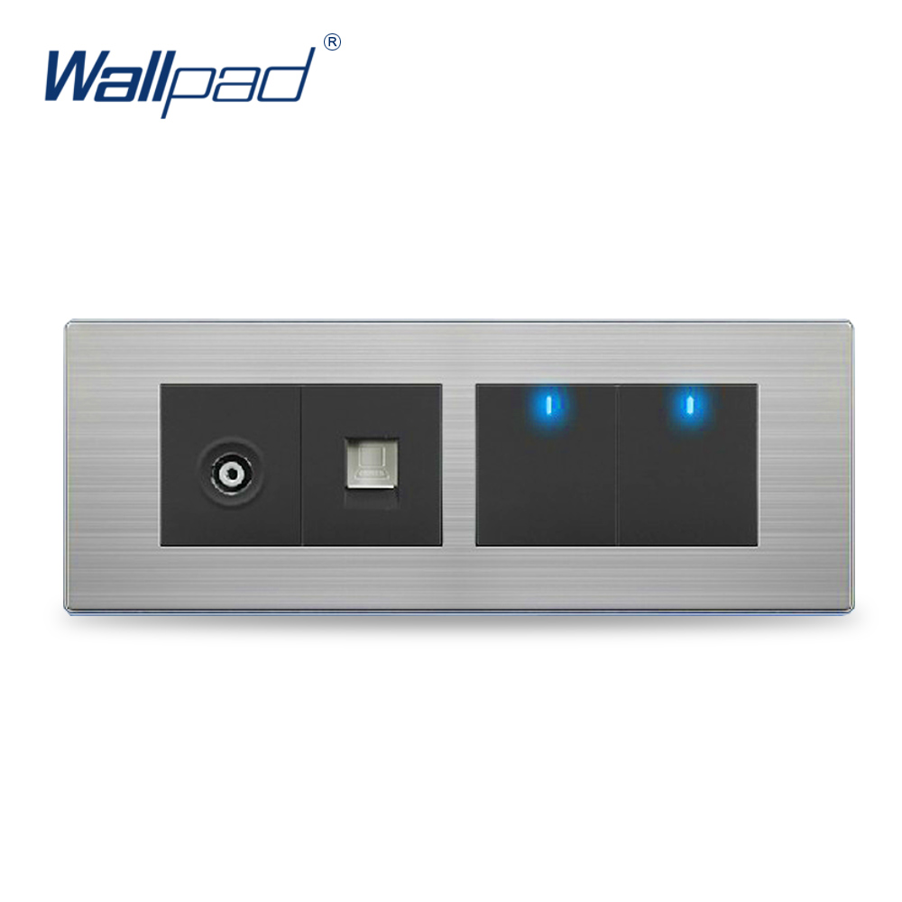 Wall Light 2 Gang TV+COM Socket Hot Sale China Manufacturer Wallpad Push Button One-Side Click  LED Indicator Luxury double computer socket free shipping hot sale china manufacturer wallpad push button luxury arylic mirror panel wall