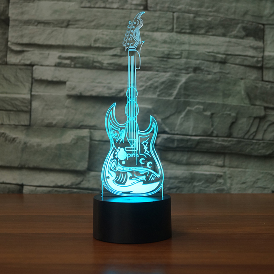 Home Decor Kid Bedroom Bedside Music Guitar Lamp 3D LED Night Lights Touch Switch Colorful Gradient Mood Lighting Art Table Lamp