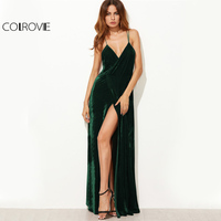 COLROVIE Green Velvet Summer Party Dress 2017 Strappy Backless Women Sexy Wrap Maxi Dresses Deep V