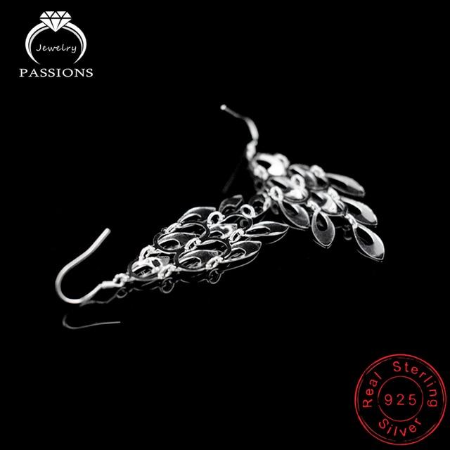 925 Sterling Silver Bohemian Peacock Tail Dangle Earrings 4