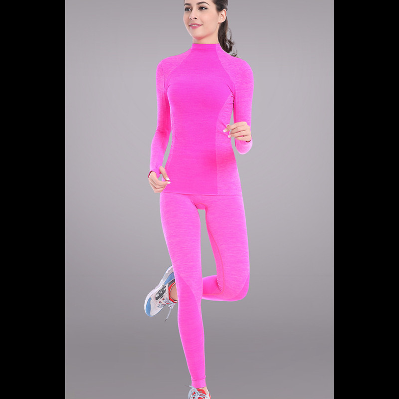 Spring 2019 Women High Elastic base layers thermal underwear set Ladies Fitness body shapers long johns compression Clothing set
