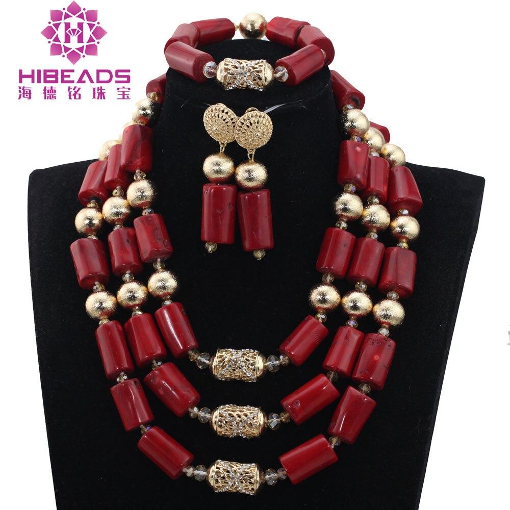 Ensembles de bijoux à la mode or nigérian Dubai perles de mariage traditionnelles ensembles de bijoux vin rouge corail perlé ensembles de bijoux de mariée ABH474