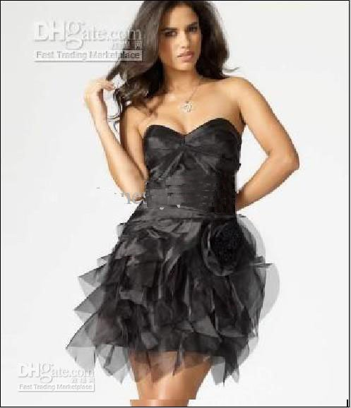Lipsy Vip Flower Corsage Dress Christmas Dresses 2010 Black Strapless Sequin Short Cocktail Dresses