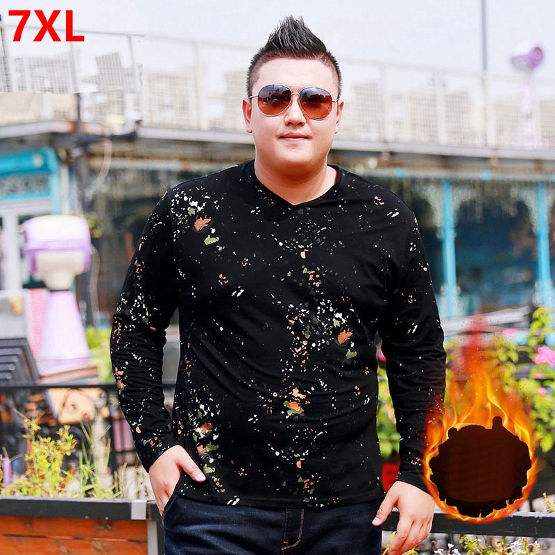 Winter large size men's long sleeved T shirt plus velvet warmth big size long sleeved people wear elastic V neck 7XL 6XL 5XL