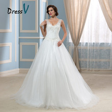 New Arrival 2016 A-Line Wedding Dresses Beading Open Back Puffy Tulle Vintage Bridal Gowns Plus Size Bride Dress Vestido Novia