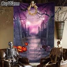 OurWarm 150*220cm Halloween Party Backdrop Pumpkin Lamps Easy Door Decorations Kids Birthday Photo Background
