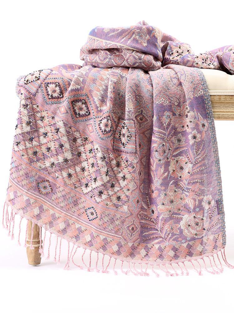 Women New Wool Shawls Scarf Female Handmade Embroidery Scarves Nepal National Style Wrap Pashmina Winter Warm Mantilla Chal