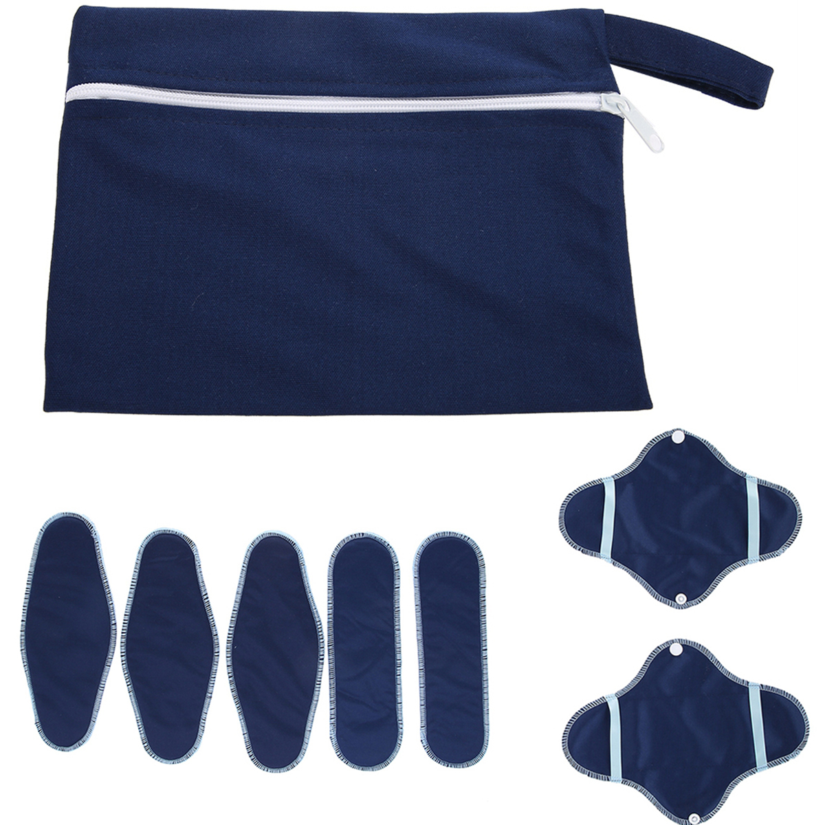 8pcs/set Reusable Natural Sanitary Napkins Washable Menstrual Pads Set Menstrual Liner Pads + Snap-on Covers + Bag Panty Liners