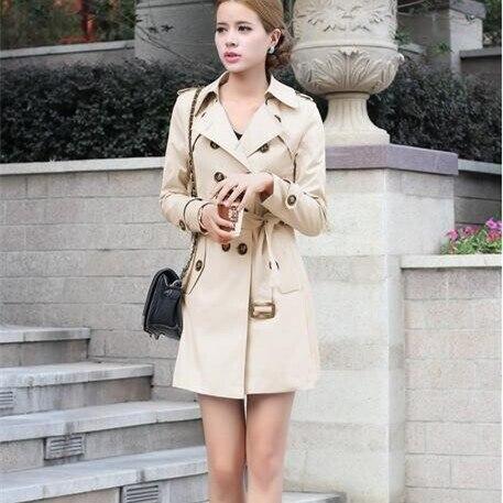 Jelusaleng 1 шт. Тренч для Для женщин Двойной Брестед Slim Fit Long весеннее пальто Casaco Feminino Abrigos Mujer верхняя одежда на осень