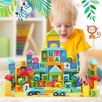 50 PCS Cartoon Wooden Building Blocks Set Creative Montessori Early Education Toy For Children Childhood Wood Construction Games