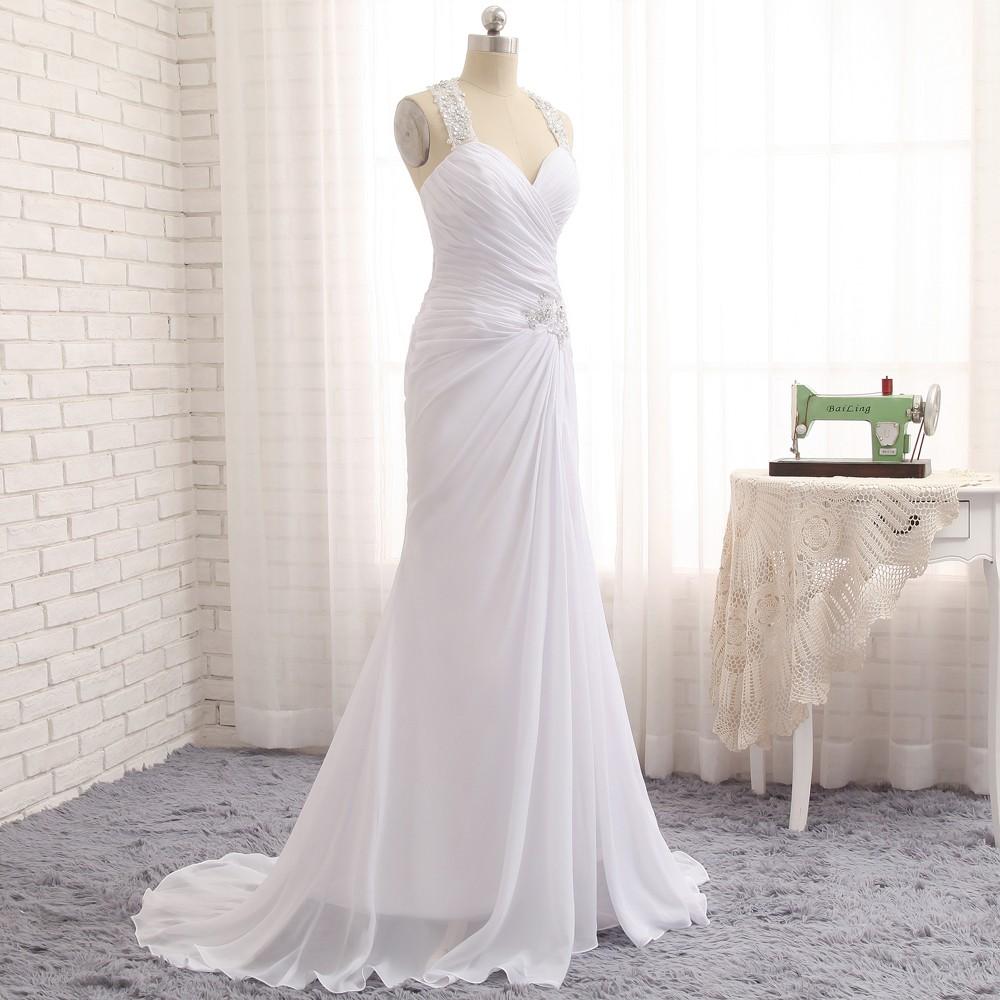 Vintage Lace Mermaid Halter Chiffon Applique Beach Wedding Dress