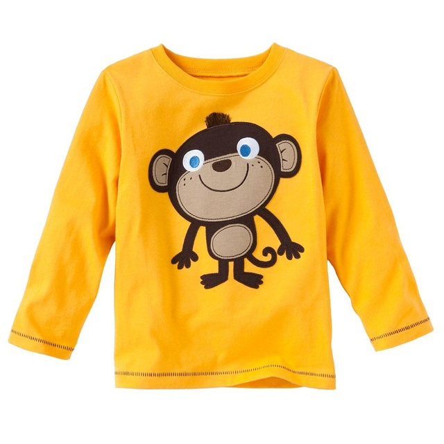 Yellow monkey baby boys clothes long sleeve t shirts for Yellow t shirt for kids