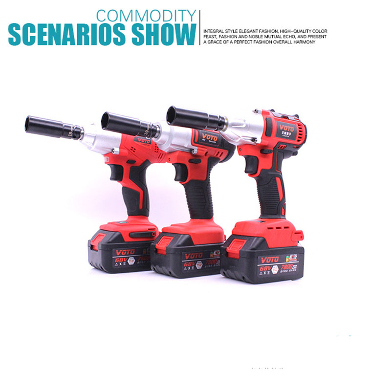 68TV 7800mah Brushless Cordless Electric Wrench Screwdriver Impact Socket Wrench Li Battery Hand Drill Hammer Installation wosai 20v lithium battery max torque 380n m 4 0ah brushless electric impact wrench diy cordless drill cordless wrench