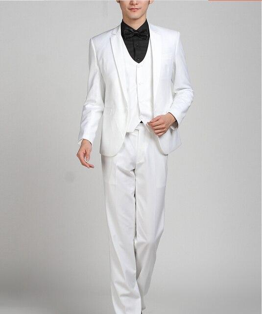 Hot Sale Custom Made Wedding Suit White 2017 Groom Tuxedos Mens Suit Groomsmen Suit Jacket+Pants+Vest